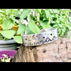 Hand stamped adjustable starry night bracelet